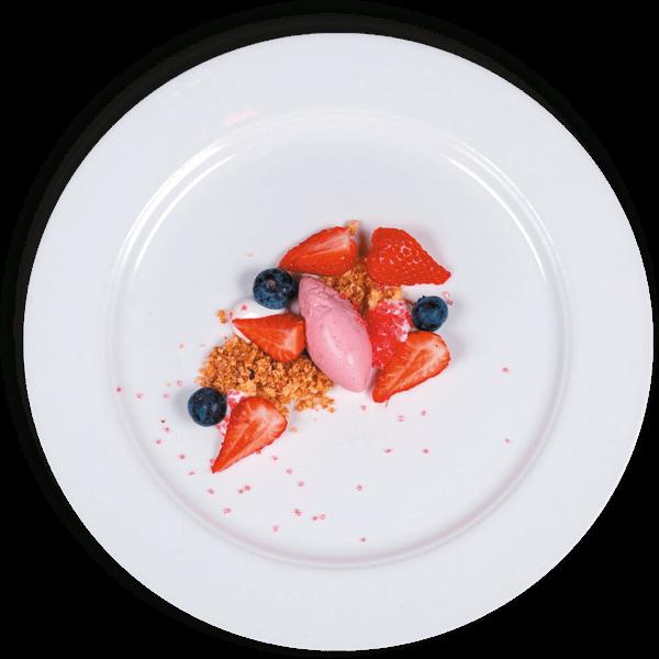 Dessert met aardbei